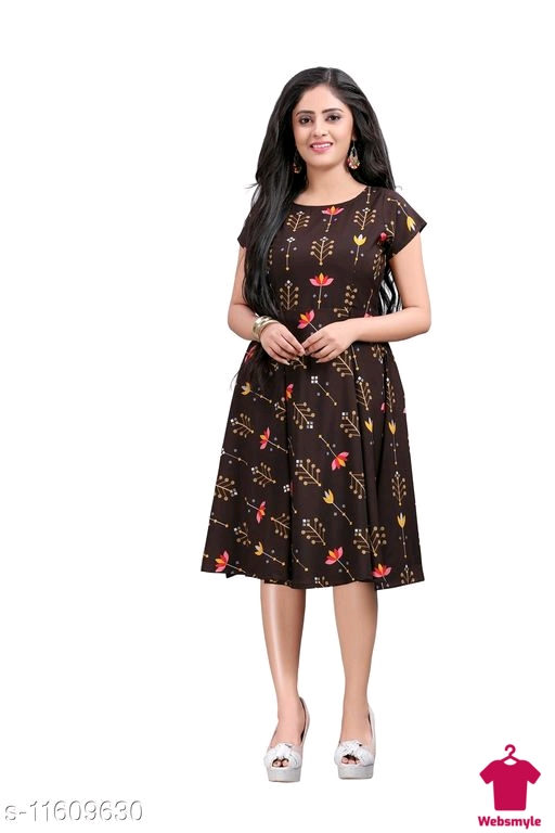 Checkout thisWomen's  Party Wear Printed Crepe Fit & Flare Dress