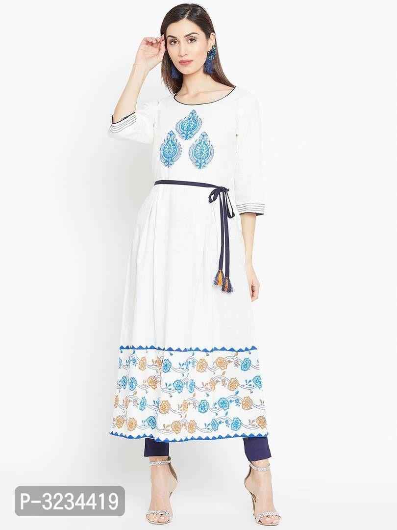 Reliable White Printed Cotton A-Line Women's Kurti