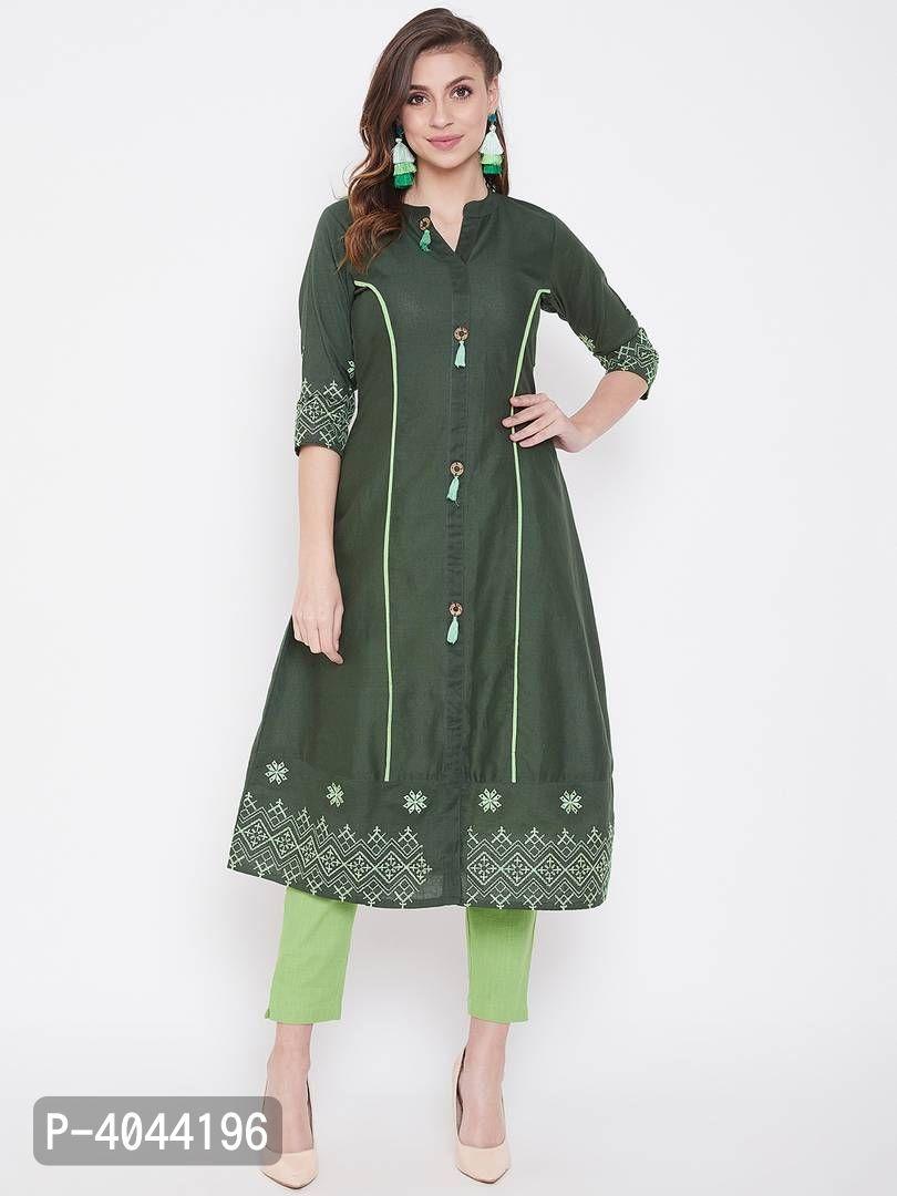 Women's Green Cotton Kurtas