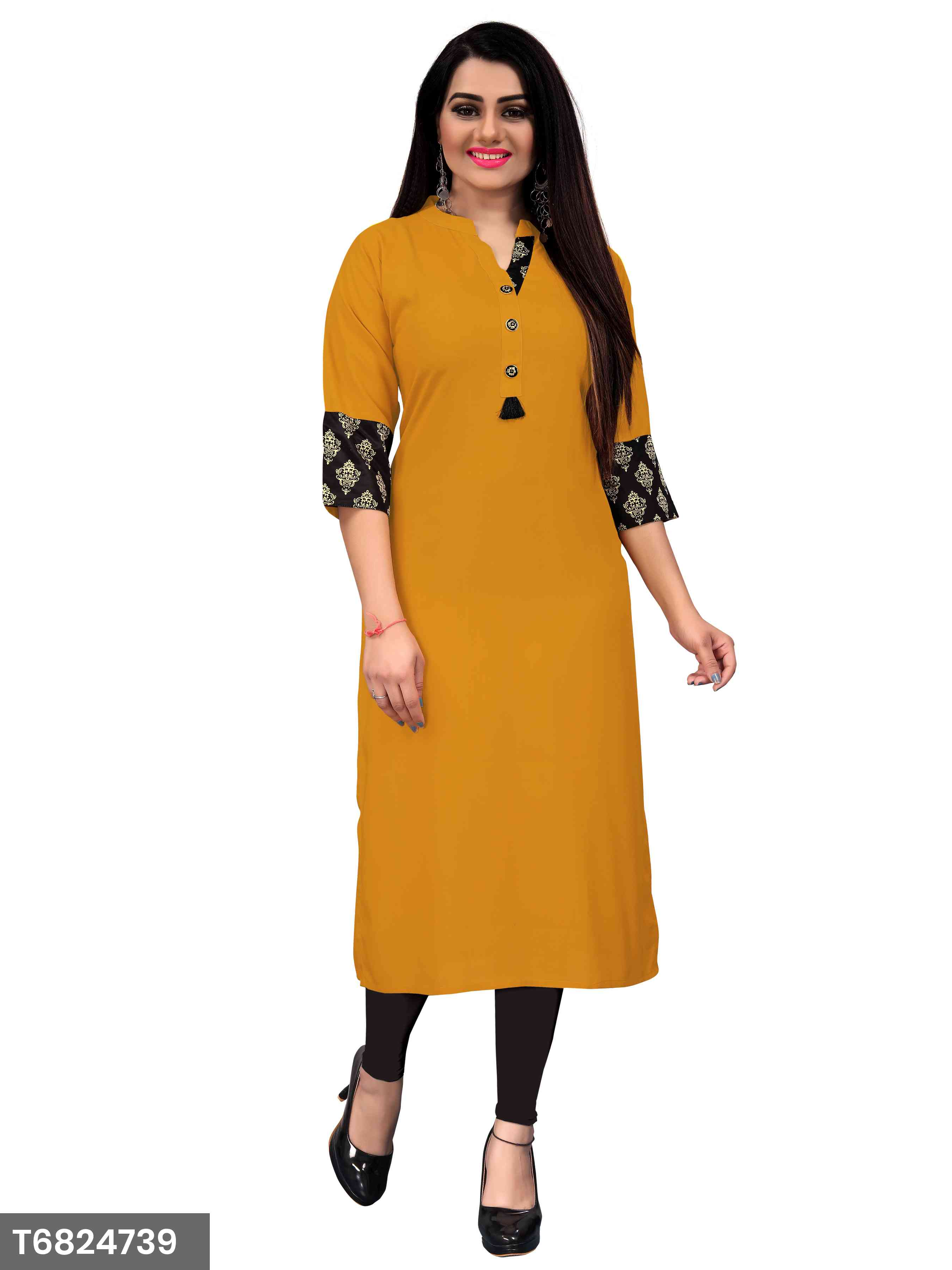 New Plain Yellow Color Rayon Kurti For Women's
