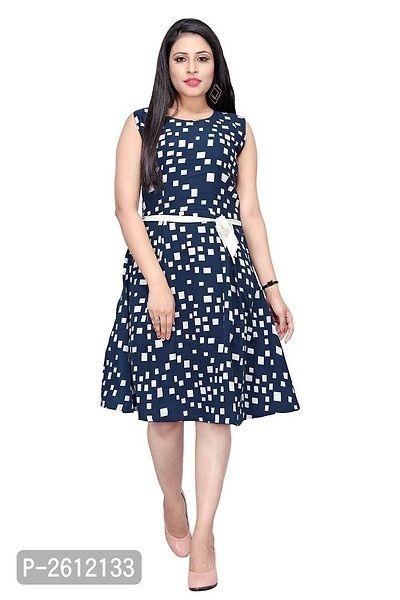 Women's Navy Blue Printed A-Line Dress