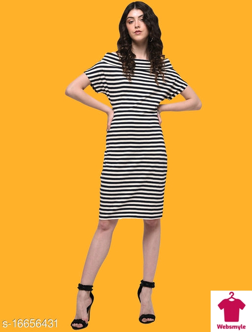 French Fusion Black and White Striped Sheath Dress in Boat Neck Design Made of Cotton Knit