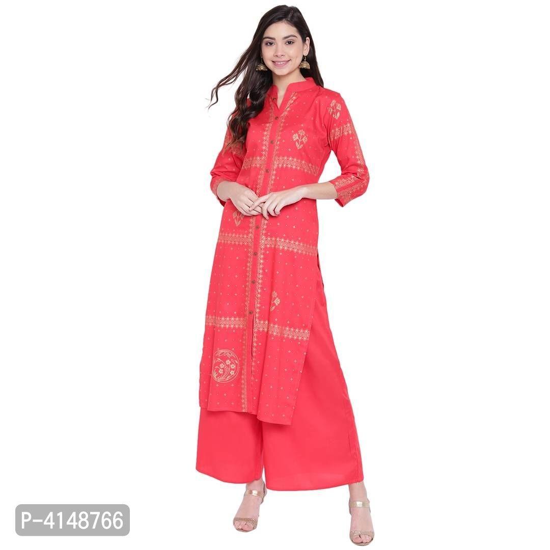 Women's Beautiful Red Rayon Foil Printed Stylish Straight Fit Kurta And Palazzo Set