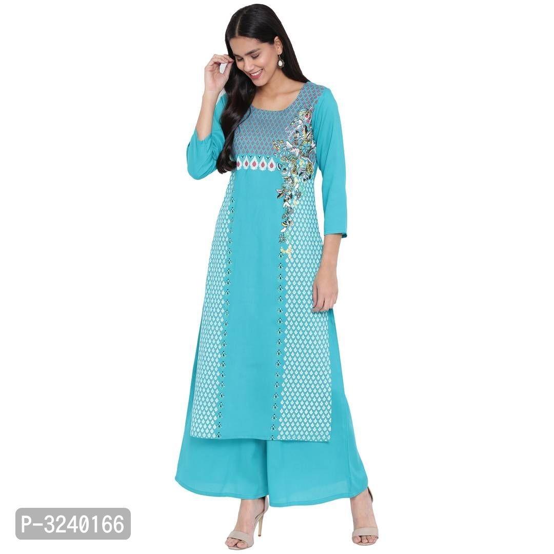 Reliable Turquoise Printed Rayon Straight Women Kurta Palazzo Set