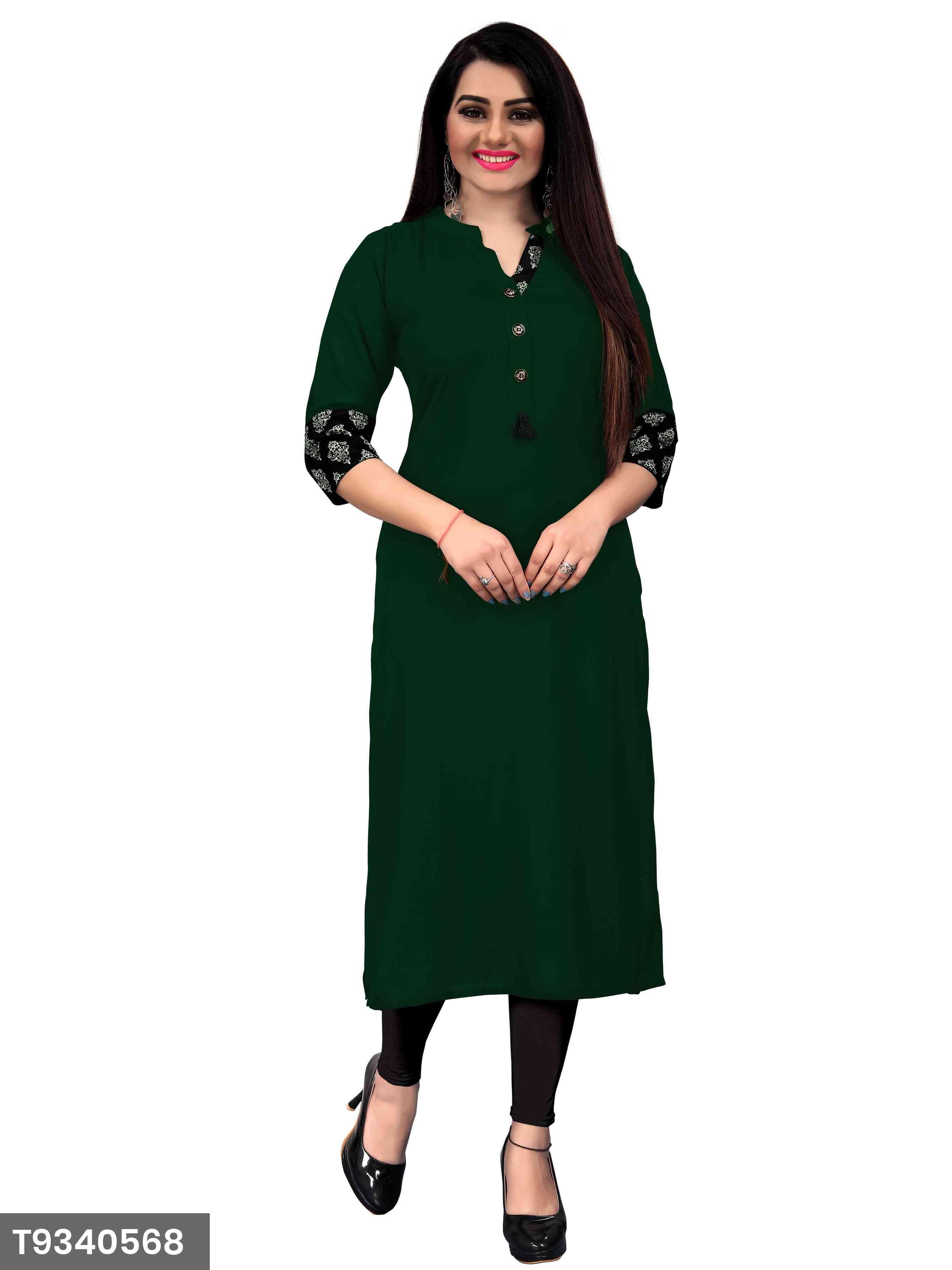 New Plain Dark Green Color Rayon Kurti For Women's