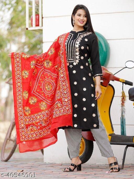 Latest & Fashionable Embroidery & Gota-Work Kurta with Printed Dupatta and Pant Dupatta set
