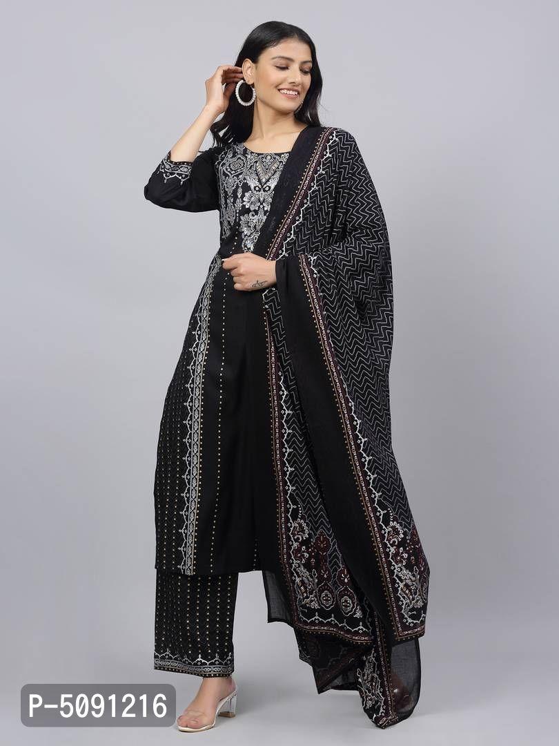 Women's Printed Straight Black Rayon Kurta, Bottom and Dupatta Set