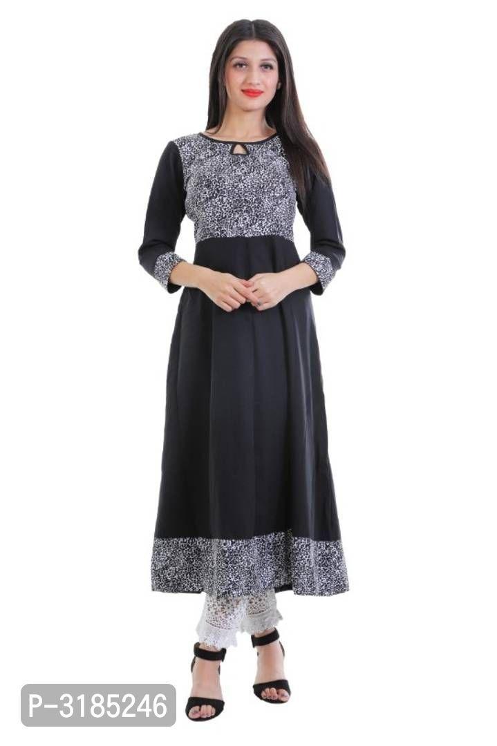 Stunning Black Printed American crepe Anarkali Women's Kurti