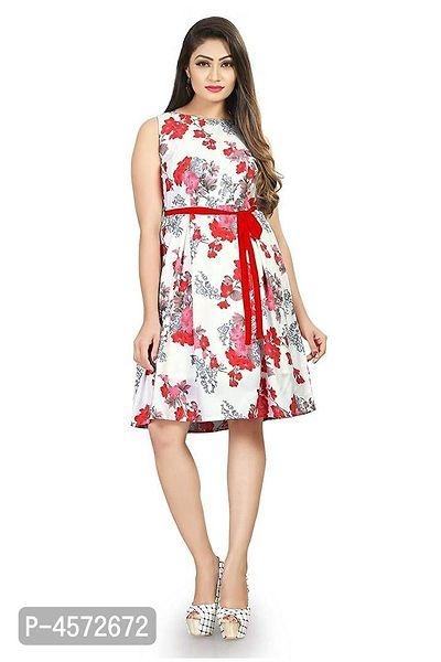 Women's Knee Length Printed White Crepe A-Line Dress