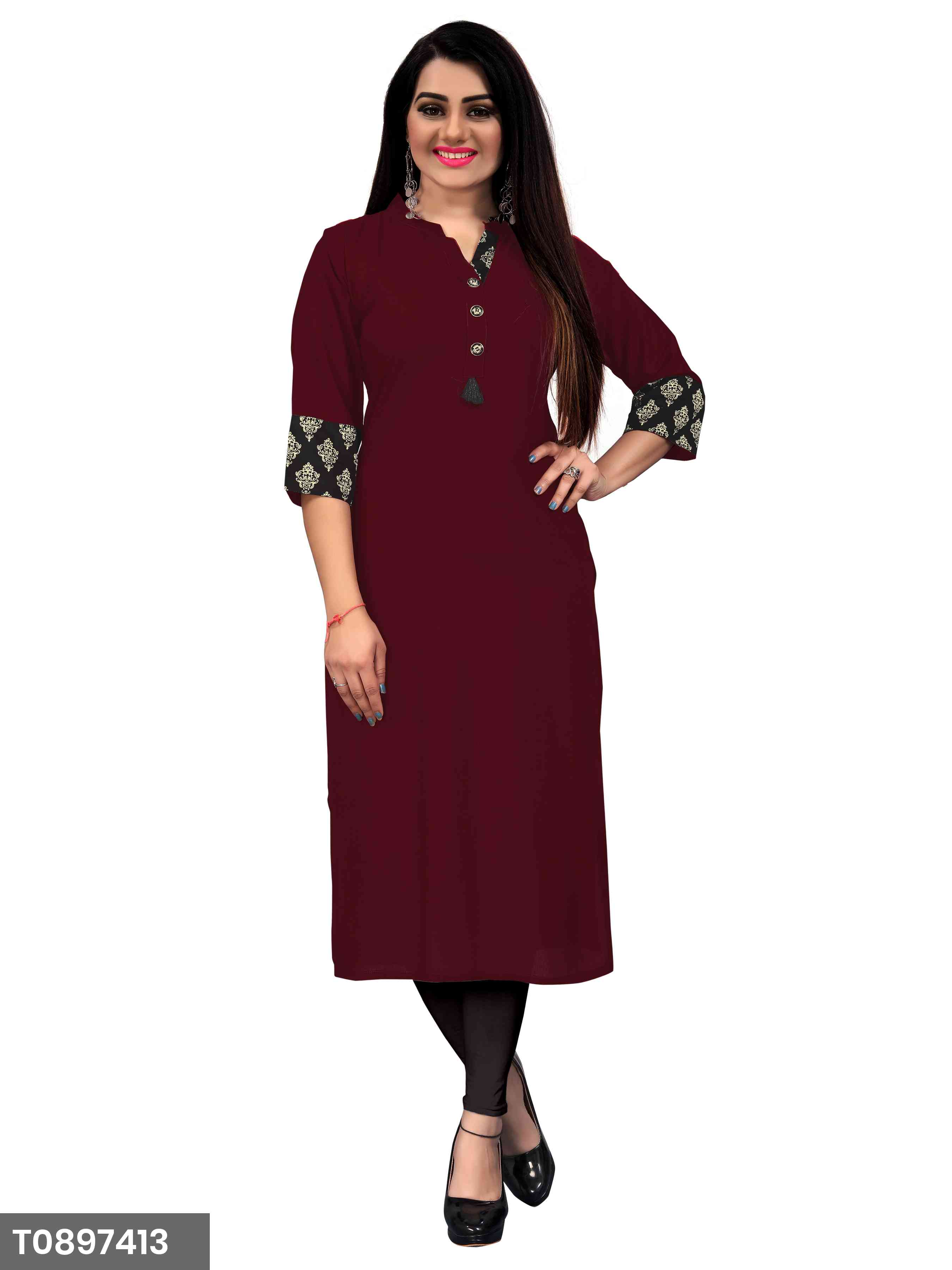 New Plain Maroon Color Rayon Kurti For Women's