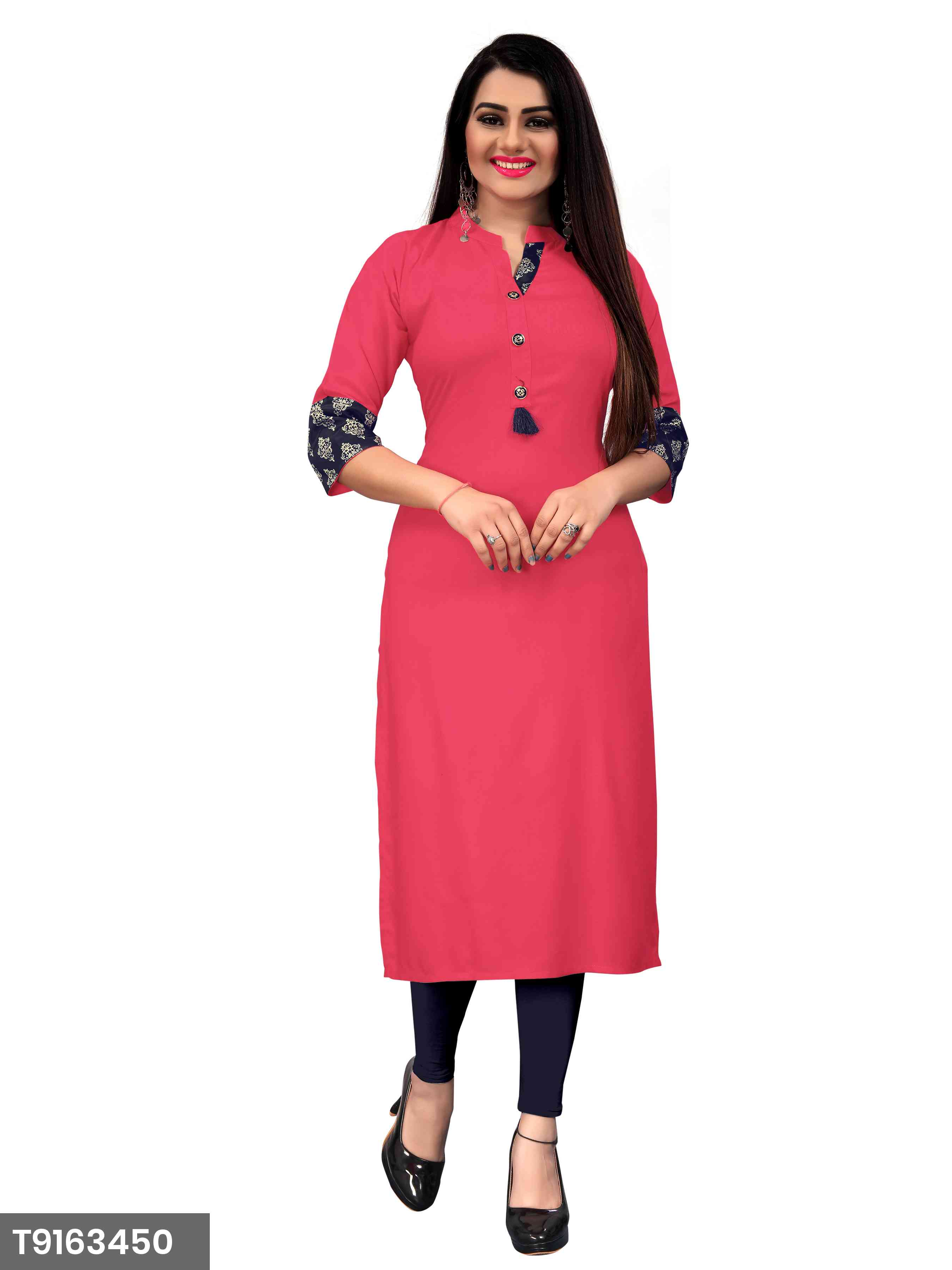 New Plain Pink Color Rayon Kurti For Women's
