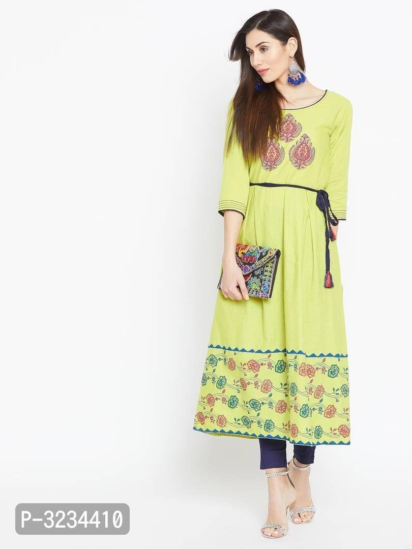 Reliable Green Printed Cotton A-Line Women's Kurti