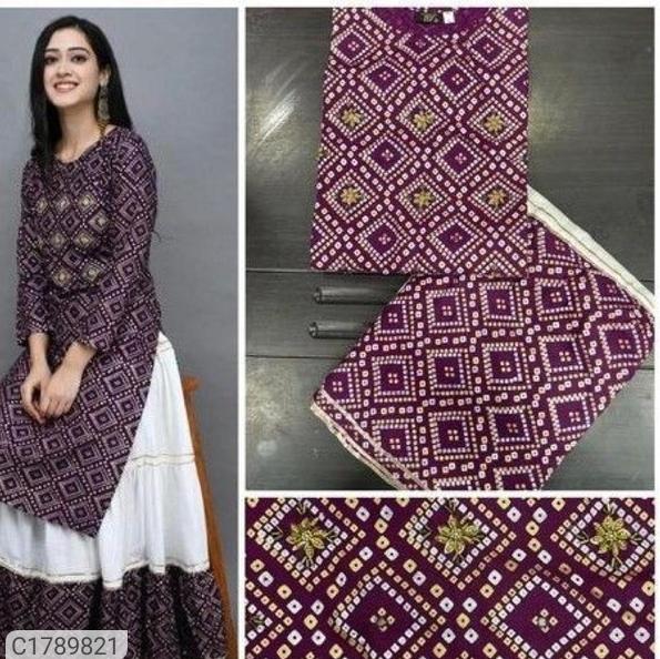 Glamourous Printed Rayon Kurti Skirt Sets