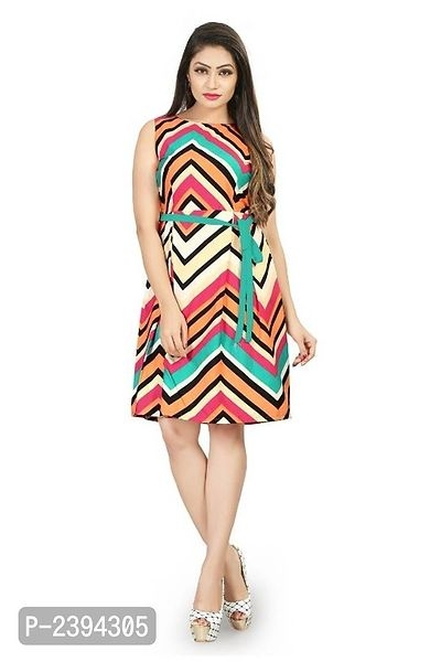 Printed Crepe Knee Length Dress For Women's