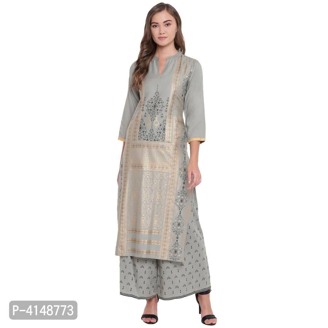 Women's Beautiful Grey Rayon Foil Printed Stylish Straight Fit Kurta And Palazzo Set