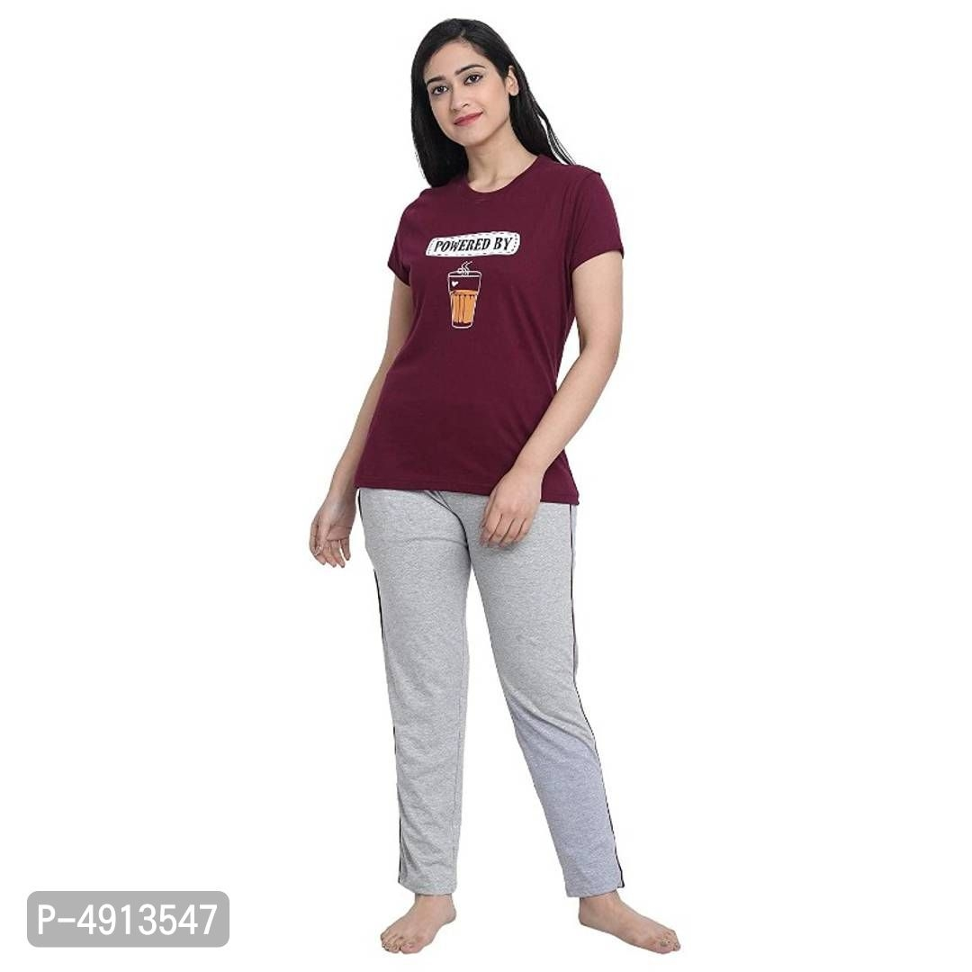 Womens Cotton Printed Top and Pyjama/Night Suit Set (Pack of 1)