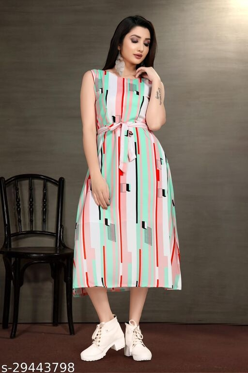 Women Trendy Flared Sleeveless Multicoloured Maxi Dress With Waist Belt
