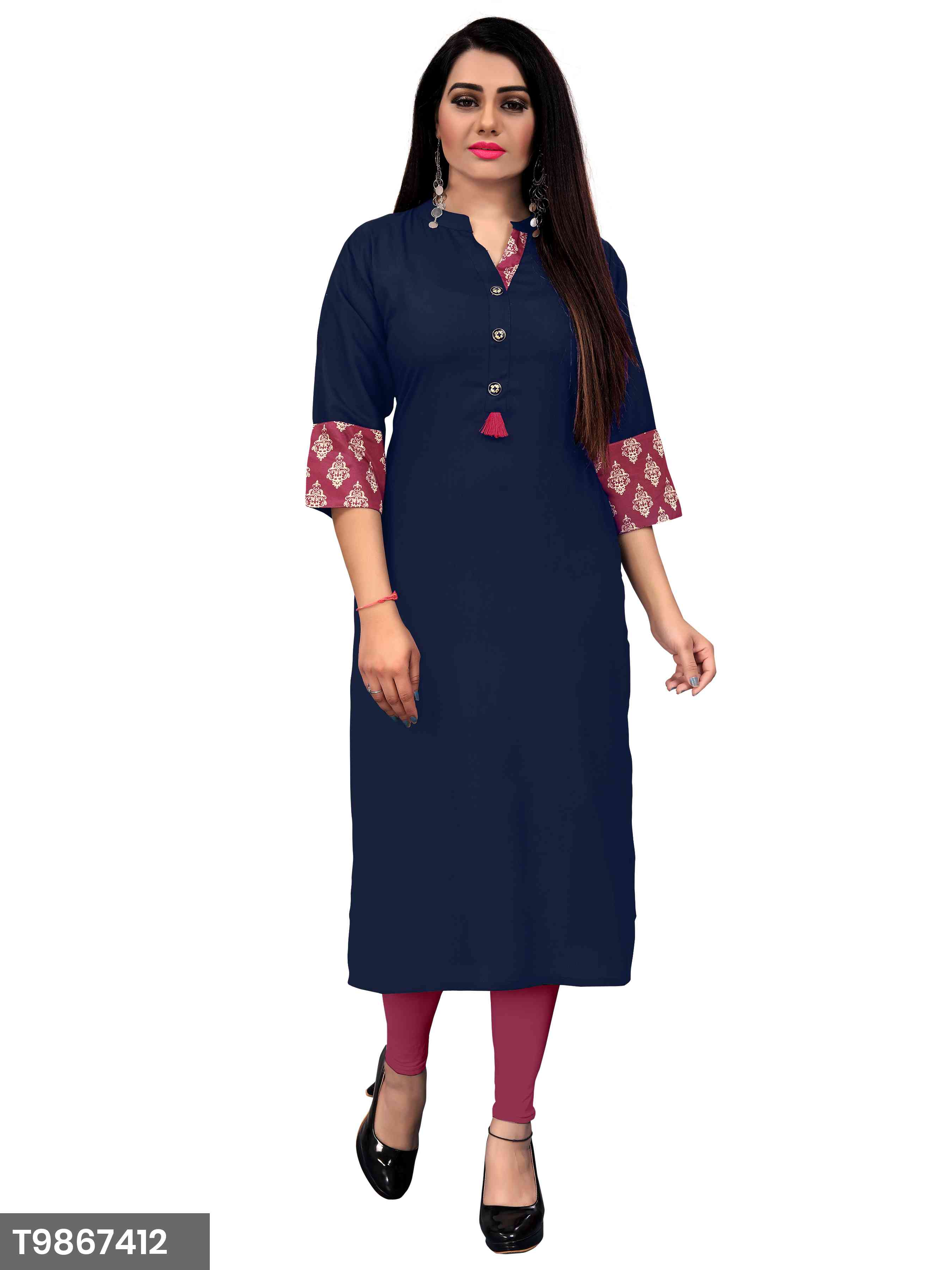 New Plain Green Color Rayon Kurti For Women's