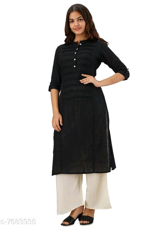 Women's Solid Black Cotton Slub Kurti