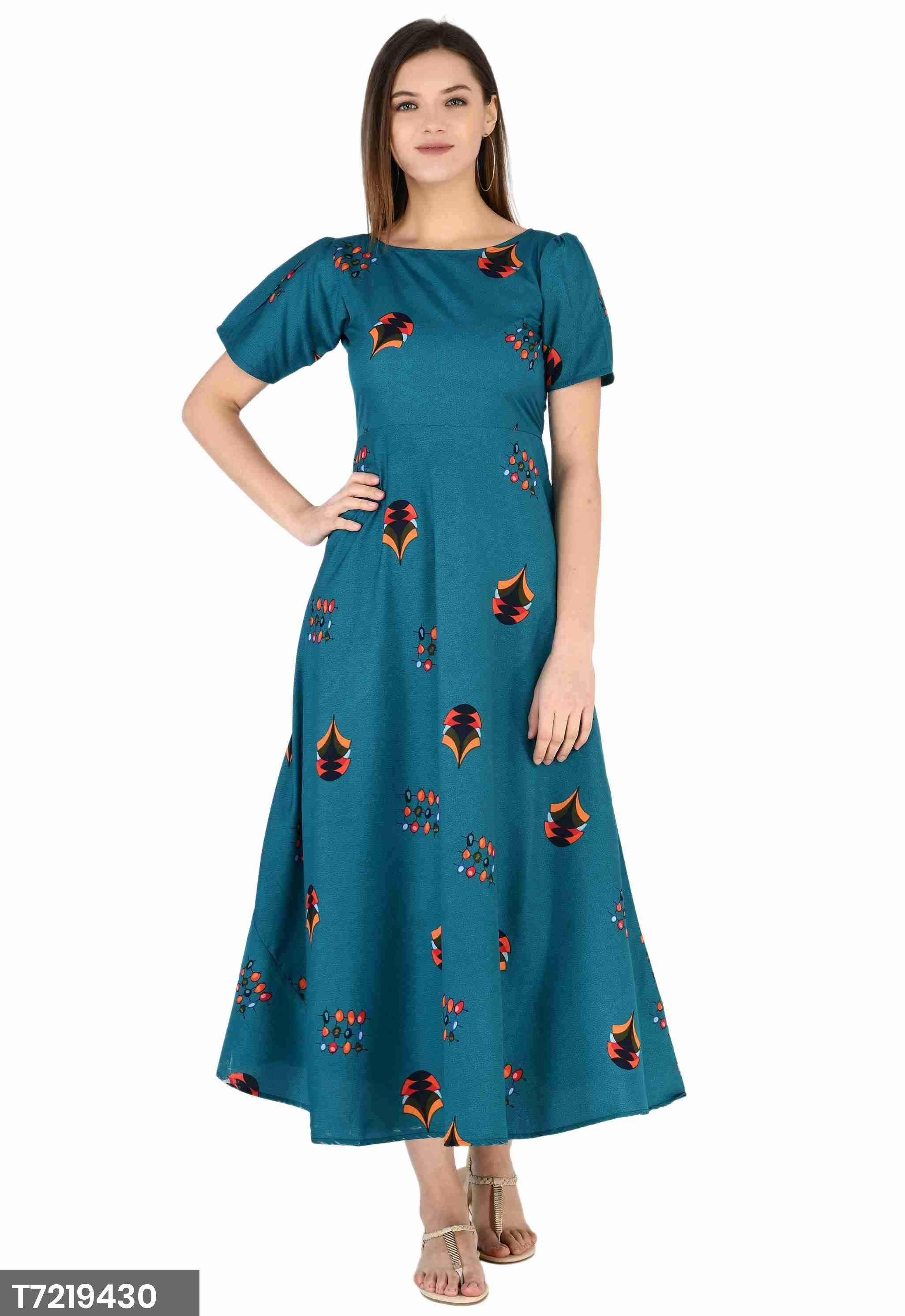 Stitched Dress Beautified With Cape Sleeve And Print As Shown
