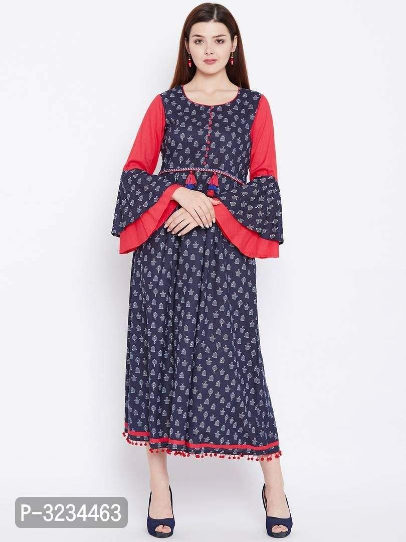 Reliable Blue Printed Cotton A-Line Women's Kurti