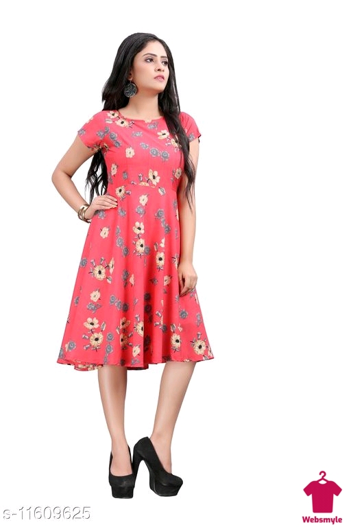 Checkout this latest DrWomen's  Party Wear Printed Crepe Fit & Flare Dress